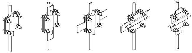 Зажим соединительный стержень — полоса/пруток, 3 пластины, оцинкованный