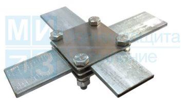 Зажим соединительный полоса-полоса крестообразный 3 пластины, оцинкованный