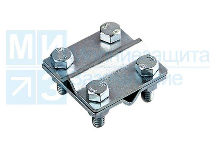 Зажим соединительный пруток-пруток, 2 пластины оцинкованный