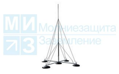 Молниеотвод 10 м на четырехноге с утяжелителями и растяжками